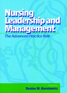 Nursing leadership and management: the advanced practice role