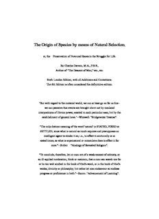 Darwin, Charles - Origin of the Species