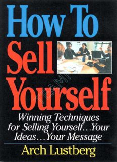 Confidence - How To Sell Yourself - Winning Techniques for Selling Yourself