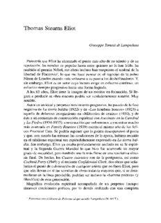 pdf Thomas Stearns Eliot / Giuseppe Tomasi Di Lampedusa