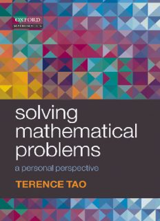 Solving Mathematical Problems A Personal Perspective Terence Tao