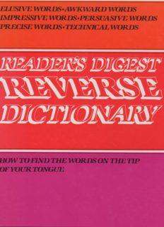 Reader's Digest Reverse Dictionary: How to Find the Words on the TIp of Your Tongue