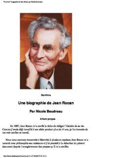 biographie de Jean Rocan par Nicole Boudreau
