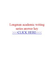 Longman academic writing series answer key