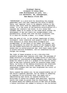 Prodigal Genius: Biography of Nikola Tesla - Tesla Science.net