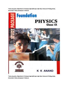 Foundation Physics for class IX Part 1 for IIT JEE standard 9