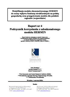 Raport nr 4 Podręcznik korzystania z udoskonalonego modelu HERMIN