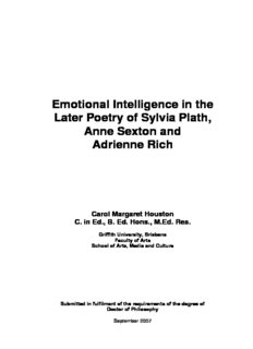 Emotional Intelligence in the Later Poetry of Sylvia Plath, Anne Sexton and Adrienne Rich