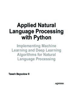 Applied Natural Language Processing with Python. Implementing Machine  Learning and Deep Learning  Algorithms for Natural Language Processing