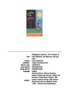 Bridging The Americas: The Literature of Paule Marshall, Toni Morrison, and Gayl Jones