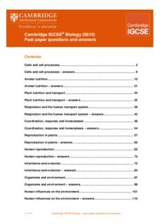 Cambridge IGCSE Biology (0610) Past paper questions and
