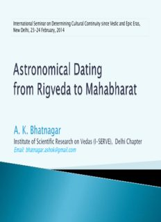 Astronomical Dating from Rigveda to Mahabharat by using planetarium software