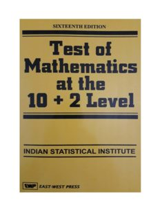 Test of Mathematics at the 10 + 2 Level Indian Statistical Institute ISI B Stat Entrance Test Exam EWP East West Press useful for KVPY RMO INMO IMO Mathematics Olympiads