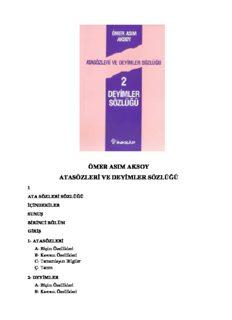 Ömer Asým Aksoy - Atasözleri ve Deyimler Sözlüðü _1993