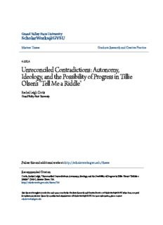 Unreconciled Contradictions: Autonomy, Ideology, and the Possibility of Progress in Tillie Olsen's