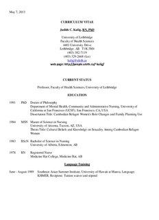 CURRICULUM VITAE Judith C. Kulig, RN, PhD