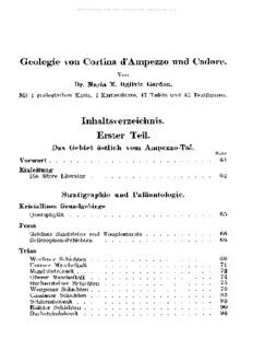 Geologie von Cortina d'Ampezzo und Cadore. Inhaltsverzeichnis