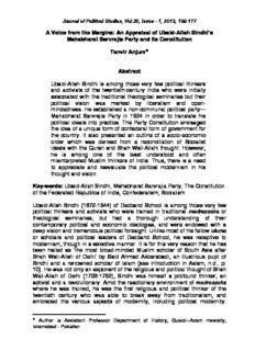 An Appraisal of Ubaid-Allah Sindhi's Mahabharat Sarvrajia Party and its