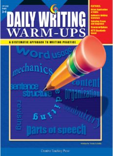 Daily Writing: Warm-ups Grades 3-4. A Systematic Approach To Writing Practice with Answer Key