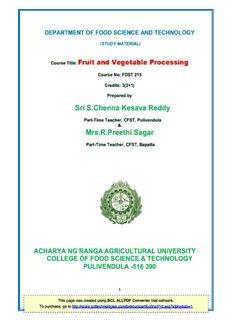 Fruits and Vegetable Processing - acharya ng ranga agricultural