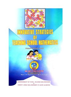 AMTI Innovative Strategies of Teaching School Mathematics Primary School Stage Prof. T R Raghavasastri Memorial Trust Chennai Math Olympiad Foundation
