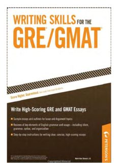 Writing Skills for the GRE & GMAT (Peterson's Writing Skills for the GRE & GMAT Test)