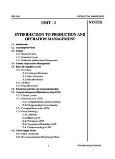 UNIT - I INTRODUCTION TO PRODUCTION AND OPERATION MANAGEMENT