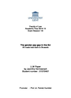 The gender pay gap in the EU LLM Paper by Jacintha Vermeersch Student number