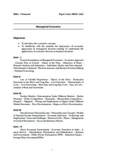 MBA Managerial Economics 1st Year