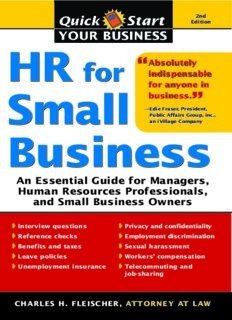 HR for Small Business, 2E: An Essential Guide for Managers, Human Resources Professionals, and Small Business Owners (Quick Start Your Business)