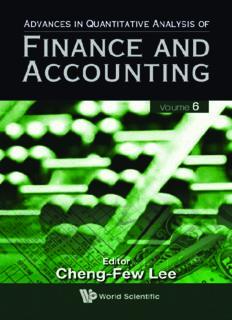 Advances In Quantitative Analysis Of Finance And Accounting (Advances in Quantitative Analysis of Finance and Accounting) Volume 6