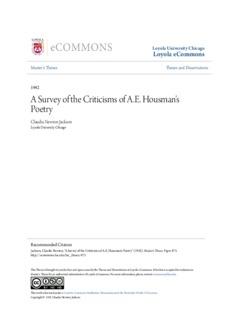 A Survey of the Criticisms of A.E. Housman's Poetry