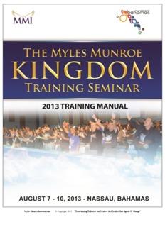 Myles Munroe International © Copyright 2013