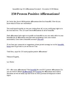 250 Proven Positive Affirmations - Daily Affirmation at