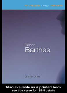 Roland Barthes (Routledge Critical Thinkers)