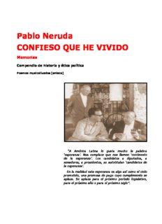 Pablo Neruda CONFIESO QUE HE VIVIDO