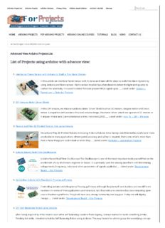 Advanced View Arduino Projects List -Use Arduino for Projects