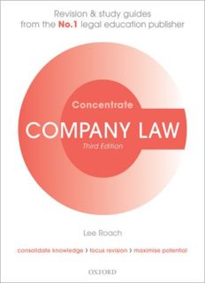 Company Law Concentrate: Law Revision and Study Guide