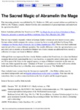 Book of the Sacred Magic of Abramelin the Mage, translated by S.L