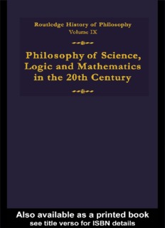 Routledge History of Philosophy, Volume 9 - Philosophy of Science