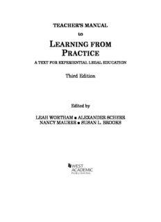 Leah Wortham, Alexander Scherr, Nancy Maurer and Susan L Brooks. Learning from Practice ...