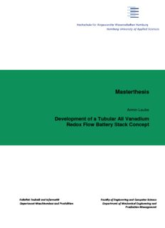 Armin Laube Development of a Tubular All Vanadium Redox Flow Battery Stack Concept