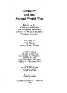 Germany and the Second World War: Volume 4: The Attack on the Soviet Union