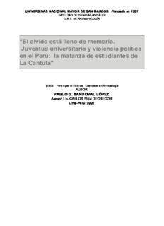 El olvido está lleno de memoria. Juventud universitaria y violencia política en el Perú: la matanza