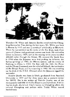 Theodore H. White and Annalee Jacoby constituted -the Chung