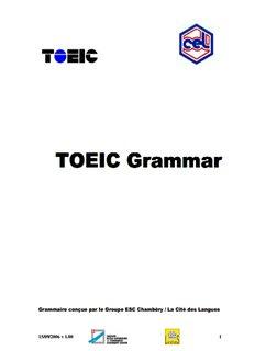 TOEIC Grammar TOEIC Grammar
