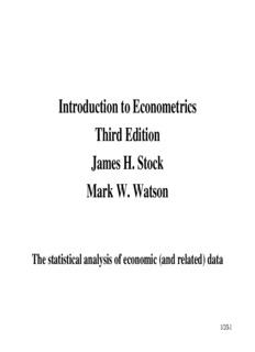 Introduction to Econometrics Third Edition James H. Stock Mark W. Watson