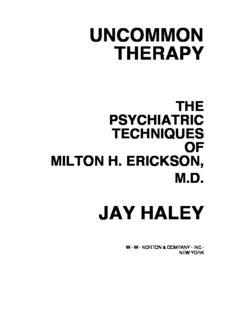 uncommon therapy the psychiatric techniques of milton h. erickson