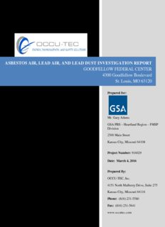 ASBESTOS AIR, LEAD AIR, AND LEAD DUST INVESTIGATION REPORT GOODFELLOW ...