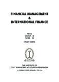 FINANCIAL MANAGEMENT and INTERNATIONAL FINANCE
